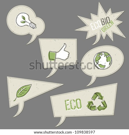 Ecology icons in speech bubbles. Vector elements collection, EPS10. - stock vector