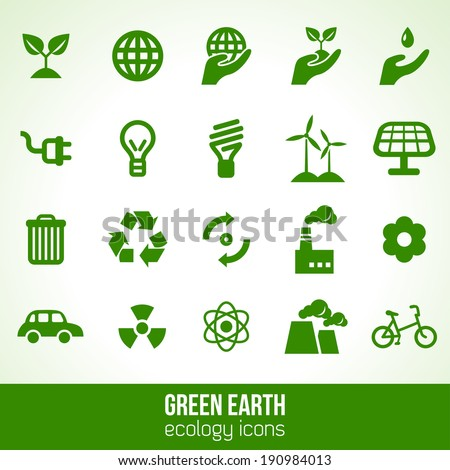 Ecology icons isolated on white. Vector illustration.  - stock vector