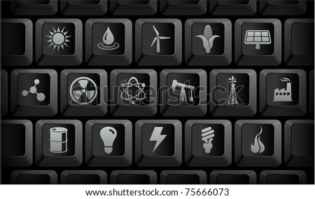 Ecology Icons on Black Computer Keyboard Buttons Original Illustration - stock vector