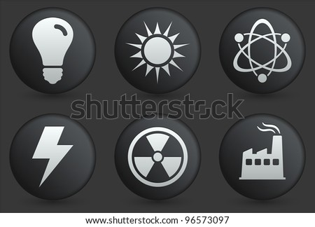 Ecology Icons on Black Internet Button Collection Original Illustration - stock vector
