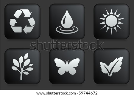 Ecology Icons on Square Black Button Collection Original Illustration - stock vector