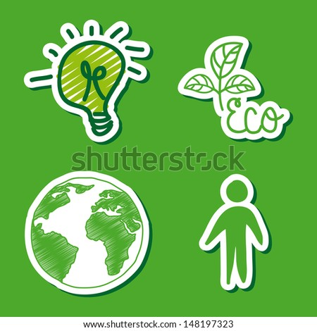 ecology icons over green background vector illustration - stock vector
