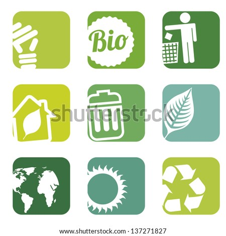 ecology icons over white background. vector illustration - stock vector