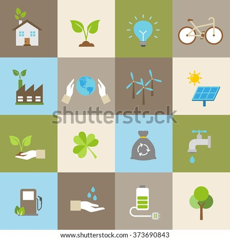 Ecology icons, protection of the environment, sustainable development. - stock vector
