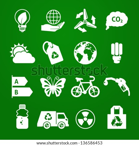 Ecology icons set 03. Deep Green series - stock vector