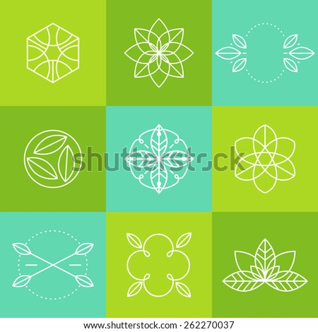 Ecology icons set, elements for labels and badges for organic (natural) products, isolated on white background, vector illustration - stock vector
