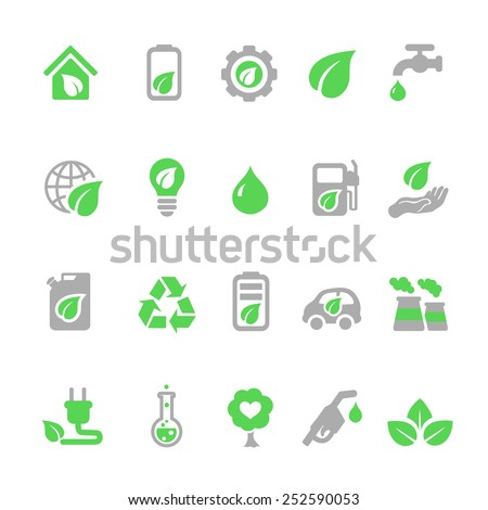 Ecology icons set, Green energy design  - stock vector