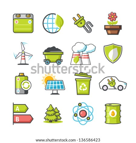 Ecology icons set 04. Happy series - stock vector