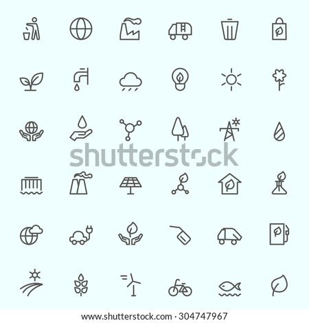Ecology icons, simple and thin line design - stock vector