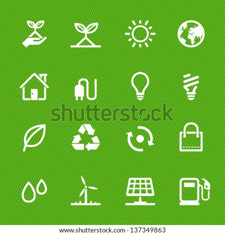 Ecology icons with Green Background - stock vector