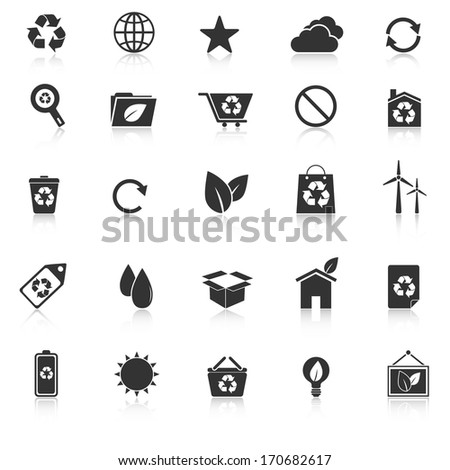 Ecology icons with reflect on white background, stock vector - stock vector