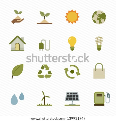 Ecology icons with White Background - stock vector