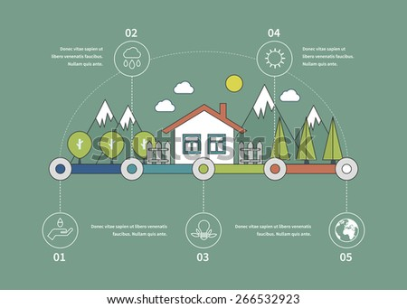 Ecology illustration infographic elements flat design. Eco life. Concept of green building and eco friendly. Thin line icons - stock vector