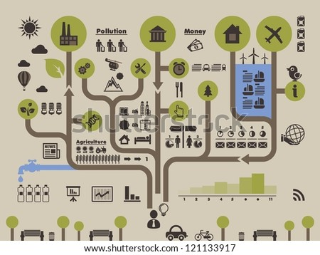 ecology info graphic, vector background in form of tree - stock vector