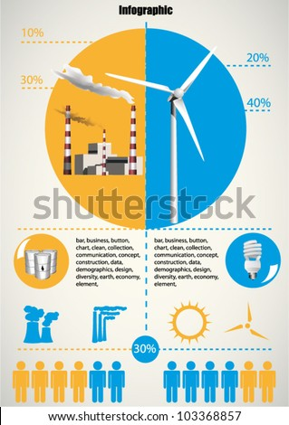 Ecology info graphics wind turbine and goal power plant - stock vector