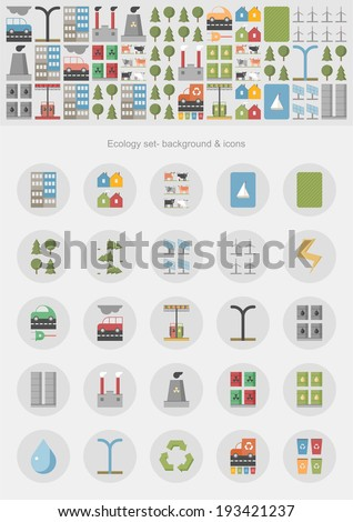 Ecology infographic / eco system & icons - stock vector