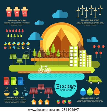 Ecology infographic elements with city view and various statistical graphs and charts. - stock vector