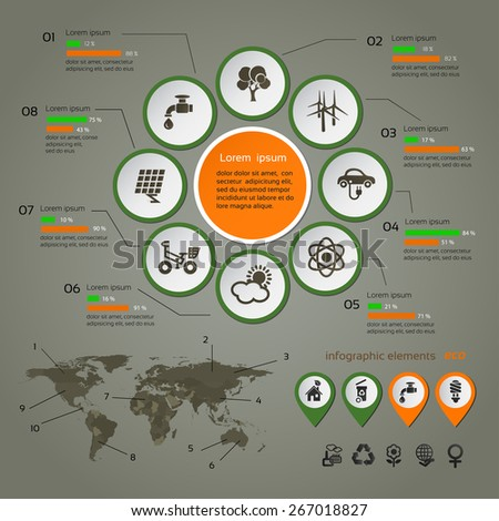 Ecology infographic with map, web design, vector  - stock vector