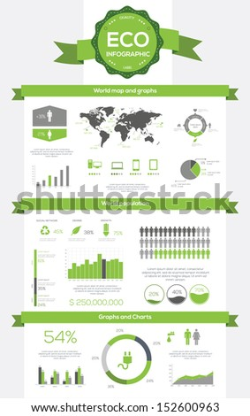 Ecology infographics, elements and icons. Vector - stock vector