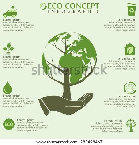 Ecology infographics elements, world globe and tree concept, bio, organic, vector illustration - stock vector
