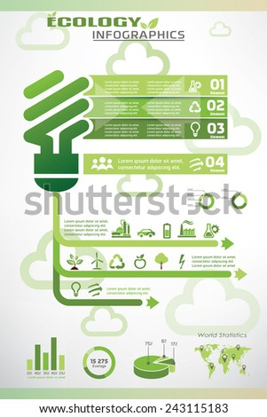 ecology infographics, environment information template and vector icons collection - stock vector