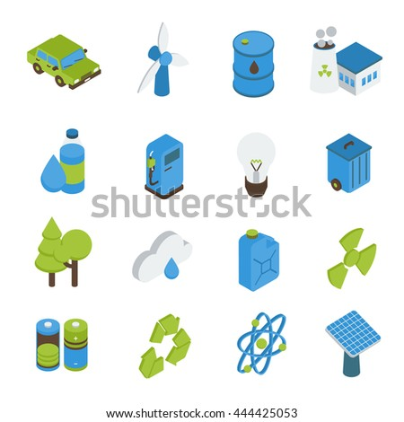 Ecology isometric icons set with electric car bio fuel green energy forests recyclable sign isolated vector illustration - stock vector