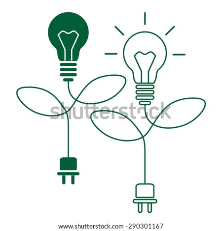 Ecology light bulb, green energy concept - stock vector