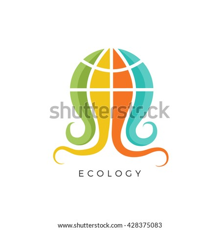 Ecology logo concept. This logo is ideal for: beauty center, natural medicine, organic foods, pharmacy, spa center, environment firm, green politics, ecology company and yoga center. - stock vector
