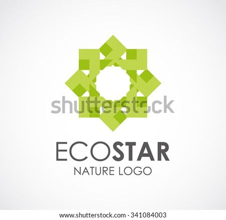 Ecology of natural star abstract vector and logo design or template green business icon of company identity symbol concept - stock vector