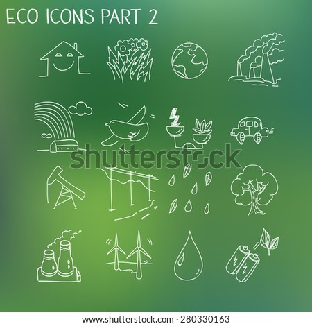 Ecology organic signs eco and bio elements in hand drawn style nature planet protection care recycling save concept. - stock vector