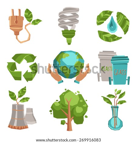 Ecology recycling and environment icons set flat isolated vector illustration - stock vector