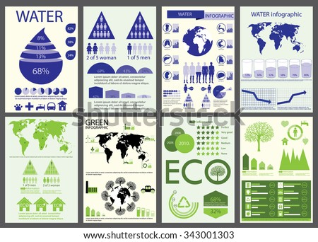 Ecology, recycling, medicine, water info graphics collection, charts, symbols, graphic vector elements - stock vector