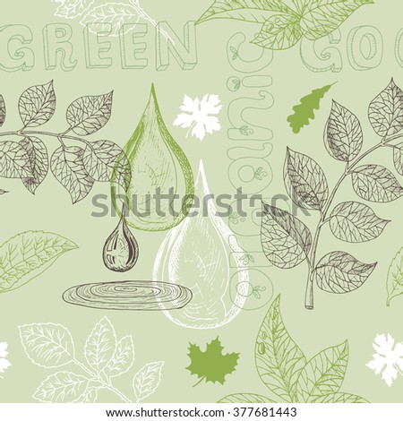 Ecology seamless background with silhouettes of leaves, water drop and text. Hand drawn sketch and doodle eco symbols, green world concept, environment protection theme - stock vector