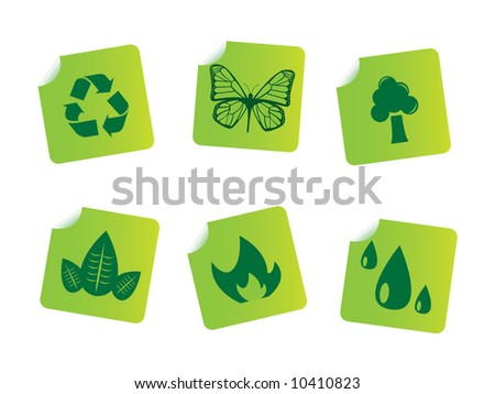 Ecology stickers - stock vector