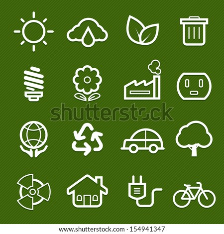 ecology symbol line icon on green background vector illustration - stock vector