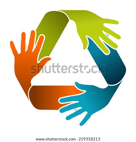 Ecology teamwork concept illustration. Recycle symbol composition with color hands. Vector file organized in layers for easy editing. - stock vector