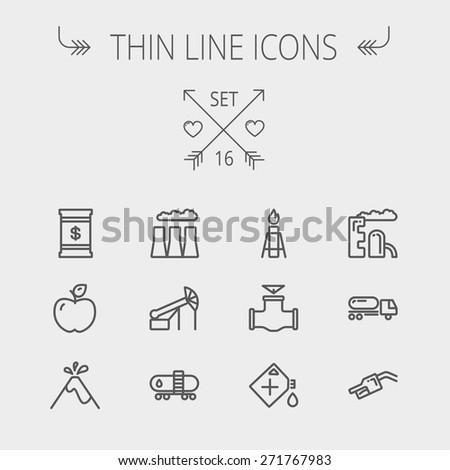 Ecology thin line icon set for web and mobile. Set includes - gas tank, truck, nozzle, container, pipe, valve, volcano, factory icons. Modern minimalistic flat design. Vector dark grey icon on light - stock vector