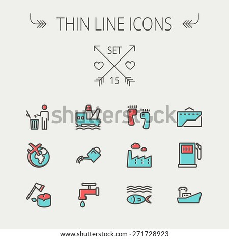 Ecology thin line icon set for web and mobile. Set includes-gasoline pump, fish, ship, garbage bin,watering can, faucet, global icons. Modern minimalistic flat design. Vector icon with dark grey - stock vector
