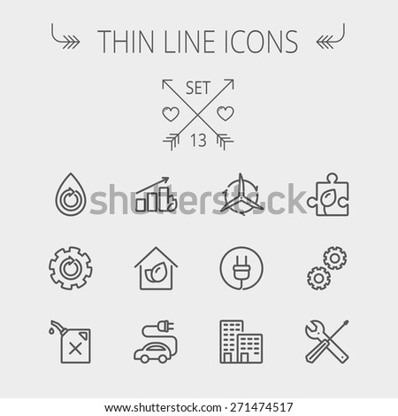 Ecology thin line icon set for web and mobile. Set includes- gear wheel, gas pump, leafs, tools, plug, building, electric car icons. Modern minimalistic flat design. Vector dark grey icon on light - stock vector