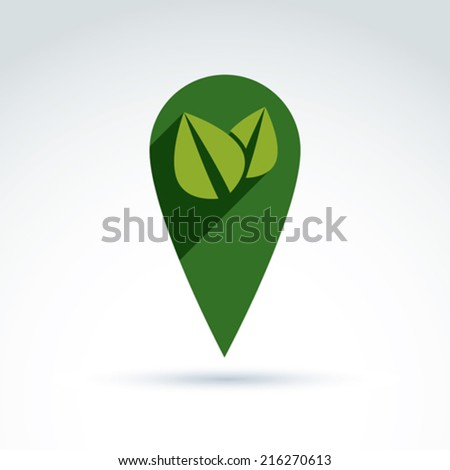 Ecology vector icon for nature and environment conservation theme. Two leaves placed in a green circle, ecology conceptual symbol isolated on white background.  - stock vector