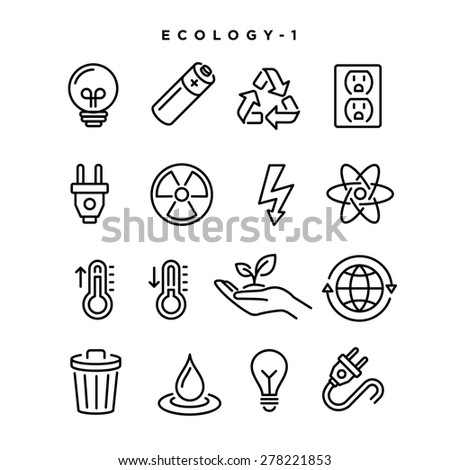 Ecology vector icons. Elements for print, mobile and web applications. - stock vector