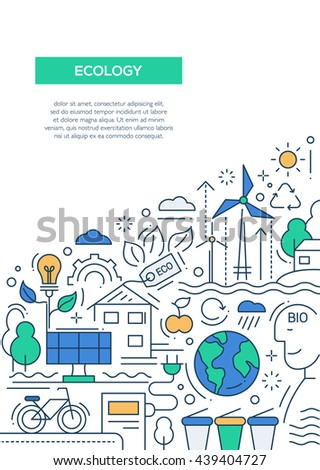 Ecology - vector line design brochure poster, flyer presentation template, A4 size layout. Energy saving, pollution, recycling, heavy industry, climate, ecosystem, environmentally friendly technology - stock vector