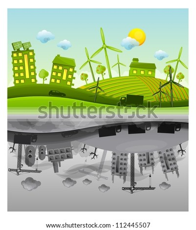 ecology versus pollution vector background - stock vector