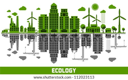 ecology versus pollution vector elements - stock vector