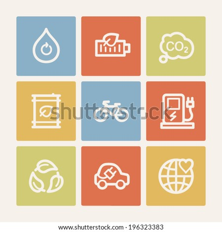 Ecology web icon set 4, color square buttons - stock vector