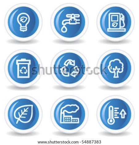Ecology web icons set 1, blue glossy circle buttons - stock vector