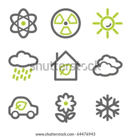 Ecology web icons set 2, green and gray contour series - stock vector