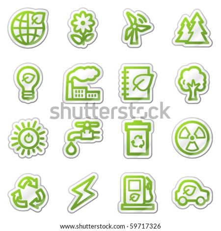 Ecology web icons set 1, green sticker series - stock vector