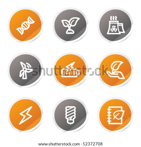 Ecology web icons set 5, orange and grey stickers - stock vector