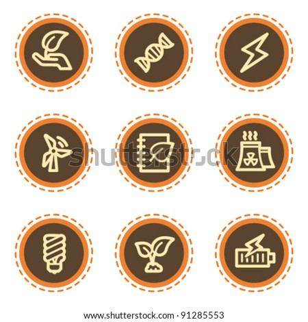 Ecology web icons set 5, vintage buttons - stock vector
